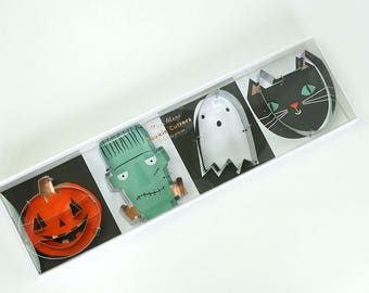 Halloween Cookie Cutters, Cookie Cutter Set, Cat, Ghost, Frankenstein, Jack-o-lantern/ Pumpkin by Meri Meri