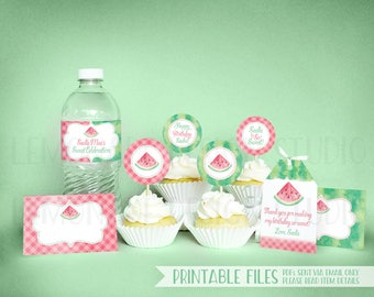 PRINTABLE Watermelon Party Decorations, Watermelon Cupcake Toppers, Watermelon Birthday Party Printables Favor Tags, Printable Party Decor