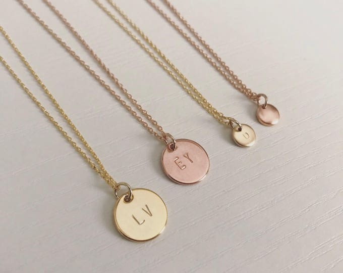Initial Charm Necklaces – Medium & Mini dainty minimalist sizes in gold and rose gold