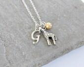 Giraffe Necklace, Giraffe Gift, Giraffe Jewellery, Personalised Initial Necklace, Personalised Jewellery, Animal Necklace, Animal Jewellery