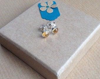 Yellow Studs, Yellow Earrings, Citrine Stud Earrings, Citrine earrings, Citrine Studs, Sterling Silver Studs