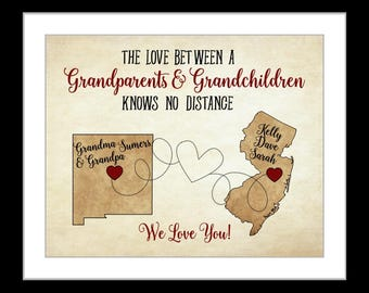 Grandparents Gifts Grandma Nana Grandmother Grandpa Papa Map Art Long Distance Parents In Laws Grandfather Quotes Unique birthday gift idea