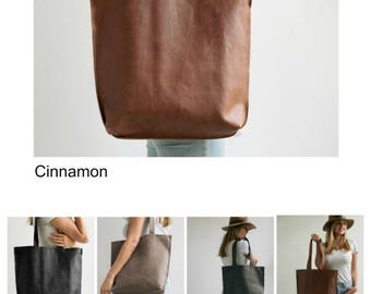 Brown Leather Tote, Personalized Bag, Full Grain Leather Tote Bag With Zipper, Handmade Leather Bag, Shoulder Bag, Leather Goods by Mayko