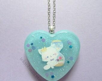 Kitty Prince Stars Moon Blue  Heart Pendant  Necklace -Kawaii -Fantasy -Pastel Goth -Sweet Lolita-Fairy Kei -Lolita