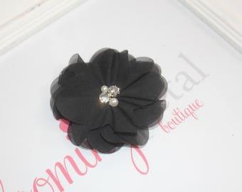 Black Chiffon Rhinestone/Pearl Flower Clip
