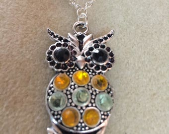 Yellow, Green Owl Necklace, Owl Pendant, One of a Kind Beaded Jewellery Gift for Her