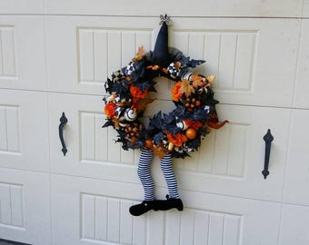 Whimsical Black and White Check Wicked Witch of the West Fall Autumn Checked Pumpkin Wizard of Oz Wreath Swag Door Wall Decor
