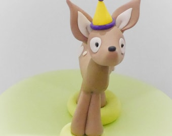 Deer Cake Topper, Woodland Cake Topper, Fawn Figurine, Birthday Cake Deer, Cute Cake Topper, Woodland Animals Cake Toppers, First Birthday