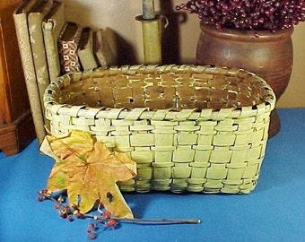 Antique Wood Splint Basket in Chrome Yellow Paint, Smaller Size, Antique Primitive