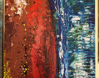 Fire and Ice abstract acrylic canvas painting