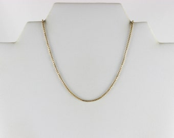 14K Yellow Gold Heavy Box Chain Necklace 18 inch 1 1/2 mm