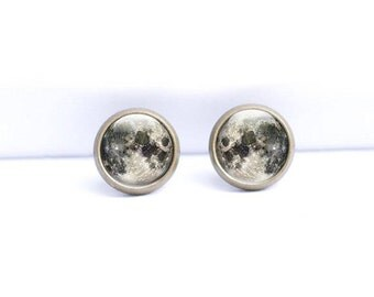Full Moon Earrings - Moon Studs Earrings - Moon Earrings