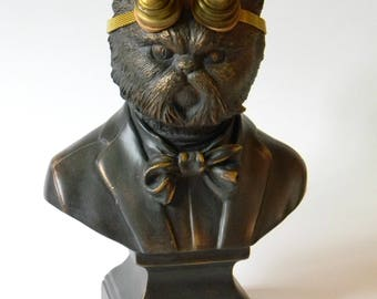Whimsical Steampunk Cat Bust. NeoVictorian Style Gentleman Cat. Antique Bronze Finished Cast Coniferous Resin Statue. Unique Steampunk Décor