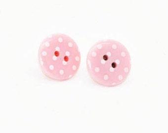 Polka Dot Earrings - Button Stud Earrings - Button Earrings - Button Jewellery - Pink Earrings - Earrings for Women - Earrings Handmade