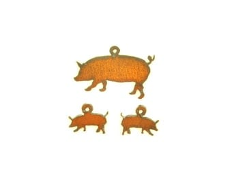 Pig Rusty Metal Pendant/Charm And Earrings 3-Piece Set
