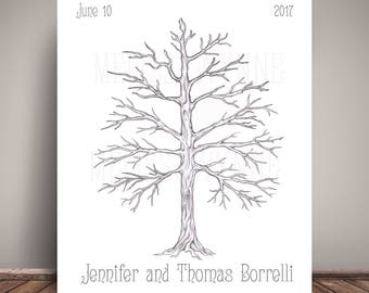 Wedding Guest Book Alternative - Thumbprint Tree Guest Book - Tree Guestbook