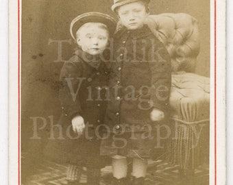 CDV Carte de Visite Photo Victorian Cute Boys Brothers (?) Wearing Hats Standing Portrait by L Thiriot of Malzéville France - Antique Photo