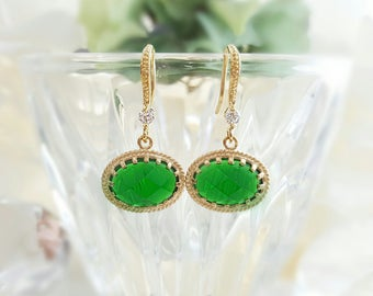 Emerald Crystal Earrings ~ Green Drop Earrings ~ May Birthstone Jewelry ~ Christmas Earrings Gold ~ Emerald Green Long Dangle Earrings E2450