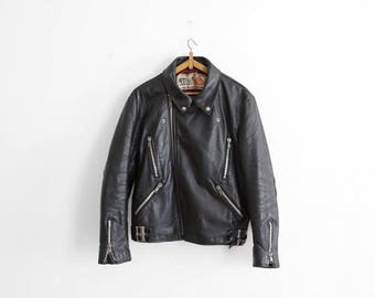 Vintage Wolf Leather Perfecto Style Motorcycle Jacket - size 42 chest - Made in England