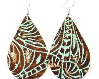 leather earrings / genuine leather / teardrop earrings / southwestern earrings