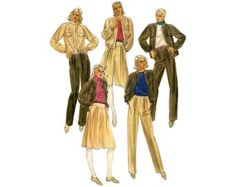 Women's Sewing Pattern, Jacket, Culottes, and Pants, Size 14,     Raglan Sleeves, Pockets, Elastic, Yoke, Pleat, Zipper, UNCUT McCall's 7741