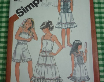 Simplicity  #5804 Girls' Camisole, Slip, Half Slip in Two Lengths and Culotte Slip PATTERN Size 7  1982