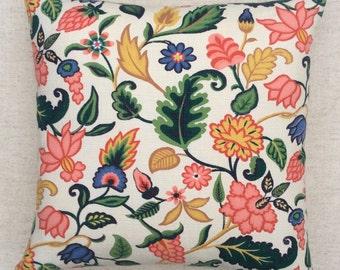 Vintage Floral 1950s Fabric Cushion With Interior 40cmx40cm