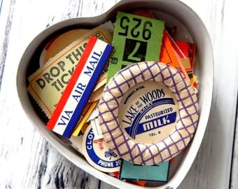 Vintage Heart Tin With Ephemera. Vintage Ephemera. Embellishment Kit. Journal Ephemera. Vintage Labels. Vintage Paper. Trinket Box.