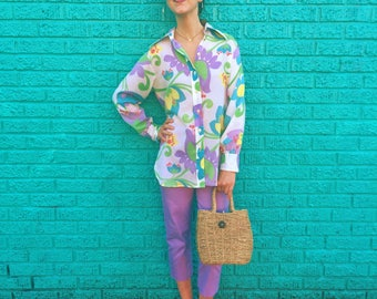 70s Pastel Blouse / Vintage Floral Print Top / Women's Long Sleeve Shirt / 1970s Groovy Button-Up