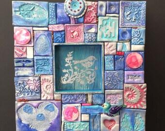 mixed media mosaik vogelnester und fliegen - Fantastisch Mosaik Flie