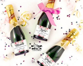 Set of Can't Say I Do Without You, Will you be my Bridesmaid Maid of Honor Mini Champagne Bottle Labels - Pink Floral Bridal Shower Label