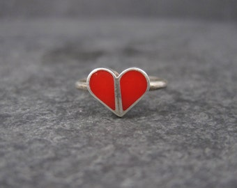 Vintage Sterling Carnelian Heart Inlay Ring Size 4.75