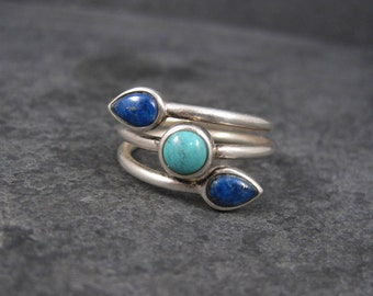 Vintage 90s Sterling Turquoise Lapis Ring Size 10