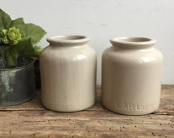 Vintage LAB Lagny French Mustard Crock Jars Set of 2 Stoneware Crockery Farmhouse Kitchen Home Decor Storage Fixer Upper Style France