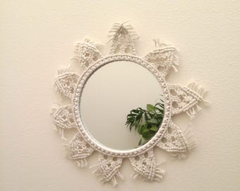 Ready to ship Round 8 inch mirror for hallway with rope Modern macrame wall mirror Shabby chic mirror Decorative Hanging macrame mirror