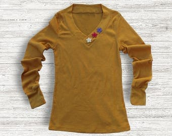 Yellow long sleeve top | waffle weave | floral embellished | Sale
