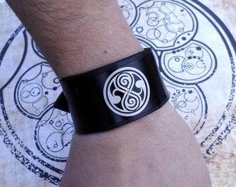Doctor Who Rassilon Compass Seal of Rassilon  Tardis Compass   inspired handmade leather bracelet wrist / cuff
