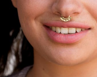 Nose Piercing, Septum Jewelry, Gold Septum, Gold Septum Ring, Silver Septum, Silver Septum Ring, Tribal Septum, Indian Septum, 21g - 14g