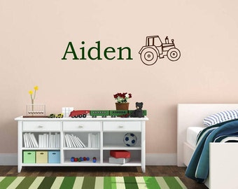 Custom Name & Tractor Vinyl Wall Art | Home Decor, Bedroom, Nursery, Baby, Children's Room Decals 30x7.5 | 40+ Colors Available! Quick Ship!