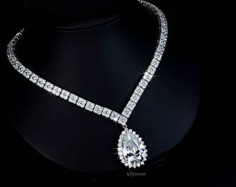 Teardrop Cubic Zirconia Wedding Necklace Crystal Necklace Drop Bridal Necklace Tear Drop Necklace Statement CZ Diamond Necklace - AN0032