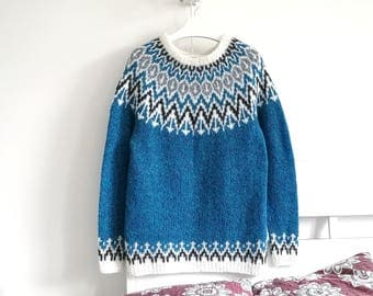 Turquoise Icelandic Sweater | Mens Sweater | Lopapeysa | Alpaca Sweater | Nordic Pattern | Chunky Knit Sweater | Men Clothing | Gift For Him