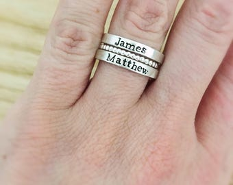Stacking name rings - Valentines Gift for mom - personalized stack rings - sterling silver bead ring - mothers name rings - stacked rings