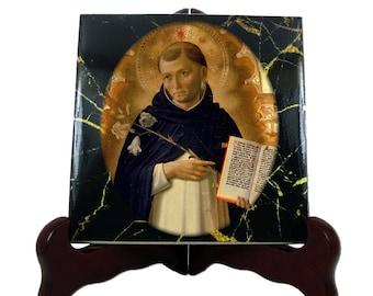 St Dominic de Guzmán - catholic saints serie - icon on ceramic tile - Saint Dominic of Osma - catholic gift - dominican order - gift for nun