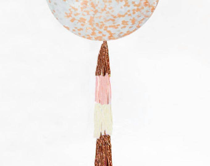 "Rose Gold Confetti Balloon 36"", Giant Round 36 inch Rose Gold Confetti Balloon, Metallic Confetti Balloons"