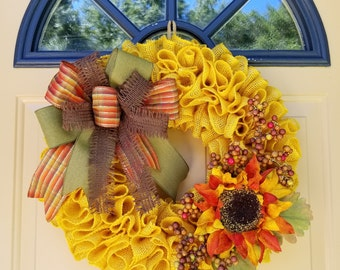 Sunflower Wreath~Burlap Sunflower Wreath~Yellow Burlap Wreath~Multi-Color Sunflower Wreath~Fall Sunflower Wreath~Rustic and Elegant Wreath