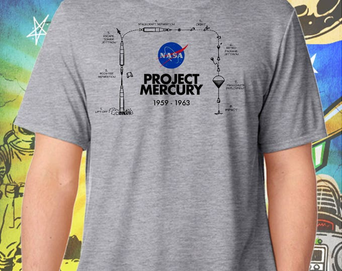 Space Exploration / Project Mercury / Men's Gray Performance T-Shirt