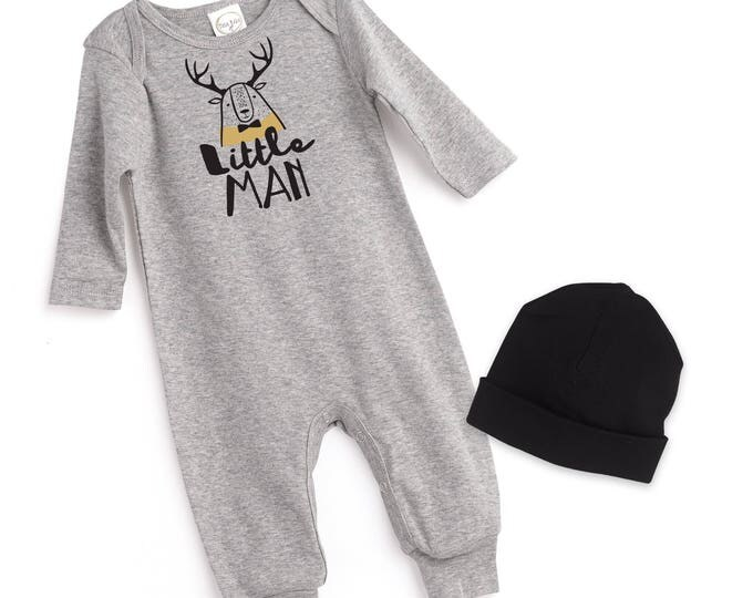 Newborn Boy Take Home Romper, Baby Boy Romper, Baby Boy Gray Bodysuit, Gray Romper Gray Baby Hat, Little Man Outfit, Tesa Babe