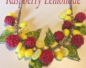 Raspberry Lemonade Pinup Retro Vintage Rockabilly Necklace
