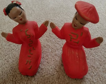 Vintage Asian couple salt and pepper shakers