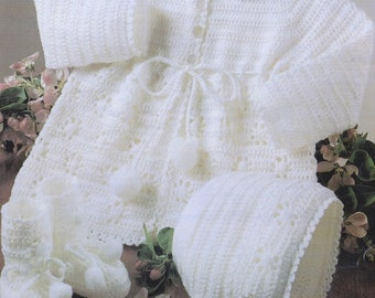 """Baby Crochet Pattern pdf Vintage Matinee Coat, Bonnet, Bootees,  3 ply  16""""-20"""""""